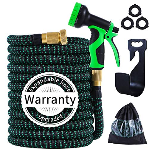 PARAIN 100 ft Expandable Garden Hose- Lightweight No Kink 3750D Fabric- 9 Functions Spray Nozzle-Leakproof 3 Layers Natural Latex- 3/4' Solid Brass- Flexible Pocket Water Hose Set