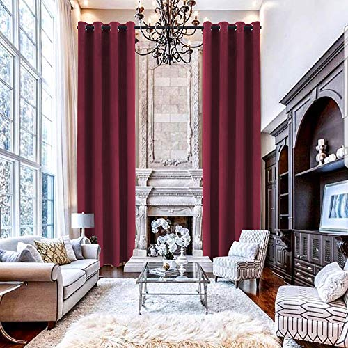 """Fenibuk Extra Long Velvet Curtain 100"""" x 168"""" Room Darkening Thermal Insulated Grommets Window Curtains Blackout Drapes for 2 Story Living Room, High Ceilings, Burgundy, 1 Panel"""