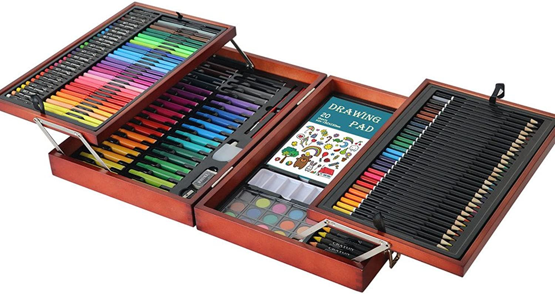 Artist Premier Set zum Zeichnen und Skizzieren 178 Stücke Luxuskunst-Kreativset in Holzkisten, abnehmbare Tablettbilder, einschlielich aller anderen Elemente, die Sie zum Starten bentigen. Perfekt f