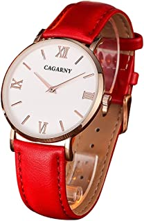Songlin@yuan 6812 Simple Style Women's Ultra-Thin Quartz Watch with Leather Belt Fashion (Color : Red)