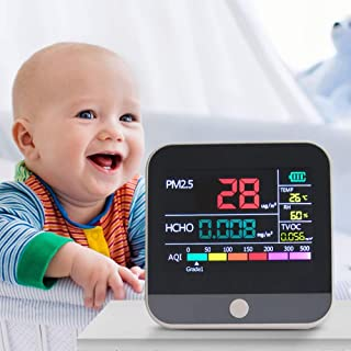 Air Quality Monitor, Indoor Air Pollution Meter, Dust Detector, Formaldehyde Analyzer PM2.5 PM10 PM1.0 HCHO TVOC AQI Temperature and Humidity Sensor for Indoor and Outdoor Testing
