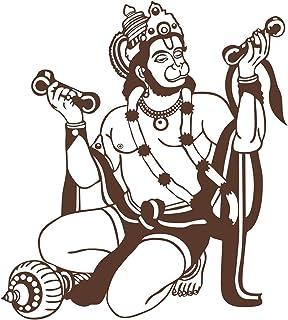 Asmi Collections Jai Hanuman Brown Wall Stickers