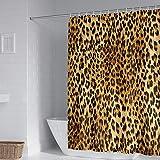 Duschvorhang Polyester Stoff Leopard Badewannenvorhang 240 X 200 cm Verstärktem Saum Wasserdicht Waschbar Antibakteriell Mit 12 Ringen Haken Für Dusche Und Badewanne