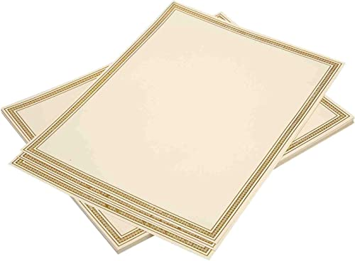 """lowest Certificate Paper 20 Pack with Gold Foil Border - 2021 Award and Diploma Paper Compatible with Inkjet and Laser Printers (8.5"""" x 11"""" 180 high quality Gram Premium Paper) online"""