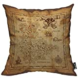 Mugod Vintage Map Throw Pillow Case Pirate Treasure Map Coral Sea Ruined Old Parchment Island Skull Cotton Linen Square Cushion Covers Couch Sofa Bed Men/Women/Boys/Girls Room 18x18 Inch Pillowcase