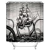 Custom Wasserdicht Duschvorhang aus Stoff, Attack Octopus Schiff 167,6cm (W) X 182,9cm (H) Bad Vorhang für die Dusche