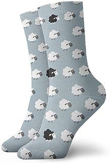 tyui7, Patrón de ovejas de dibujos animados en blanco y negro Calcetines de compresión antideslizantes Calcetines acogedores de 30 cm para hombres, mujeres y niños