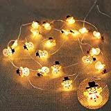 SmartSee 20LED Christmas String Lights, Santa Claus Snowflake Tree LED String Lights Battery Operated Decorative Lights for Christmas Indoor and Outdoor, Party, Yard Decor Ornament (Snowman)