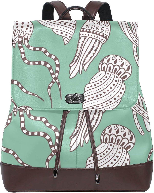 FAJRO Creative Exotic Octopus Travel Backpack Leather Handbag School Pack