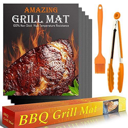 YOFIG BBQ Grillmatte, 5er Set Grillmatten für Gasgrill, BBQ Antihaft Grill-und Backmatte, Teflon Antihaft Wiederverwendbar - Perfekt für Fleisch, Fisch und Gemüse 40*33cm, PFOA-Frei Grillpapier Grill