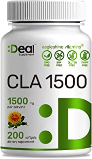 Deal Supplement CLA 1500mg Per Serving, 200 Softgels, Super Extra Strength 95% Conjugated Linoleic Acid from Safflower Oil...