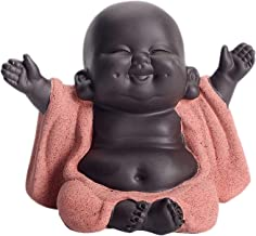 Flameer Little Ceramic Baby Monk Maitreya Happy Buddha Statue Figurine Feng Shui Ornament Arts and Crafts - A