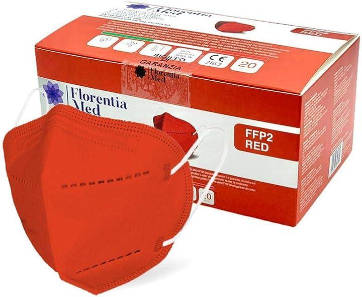 Mascherine ffp2  certificate ce categoria dpi: iii, conformi en 149:2001 + a1:2009 - 20 pezzi color rosso