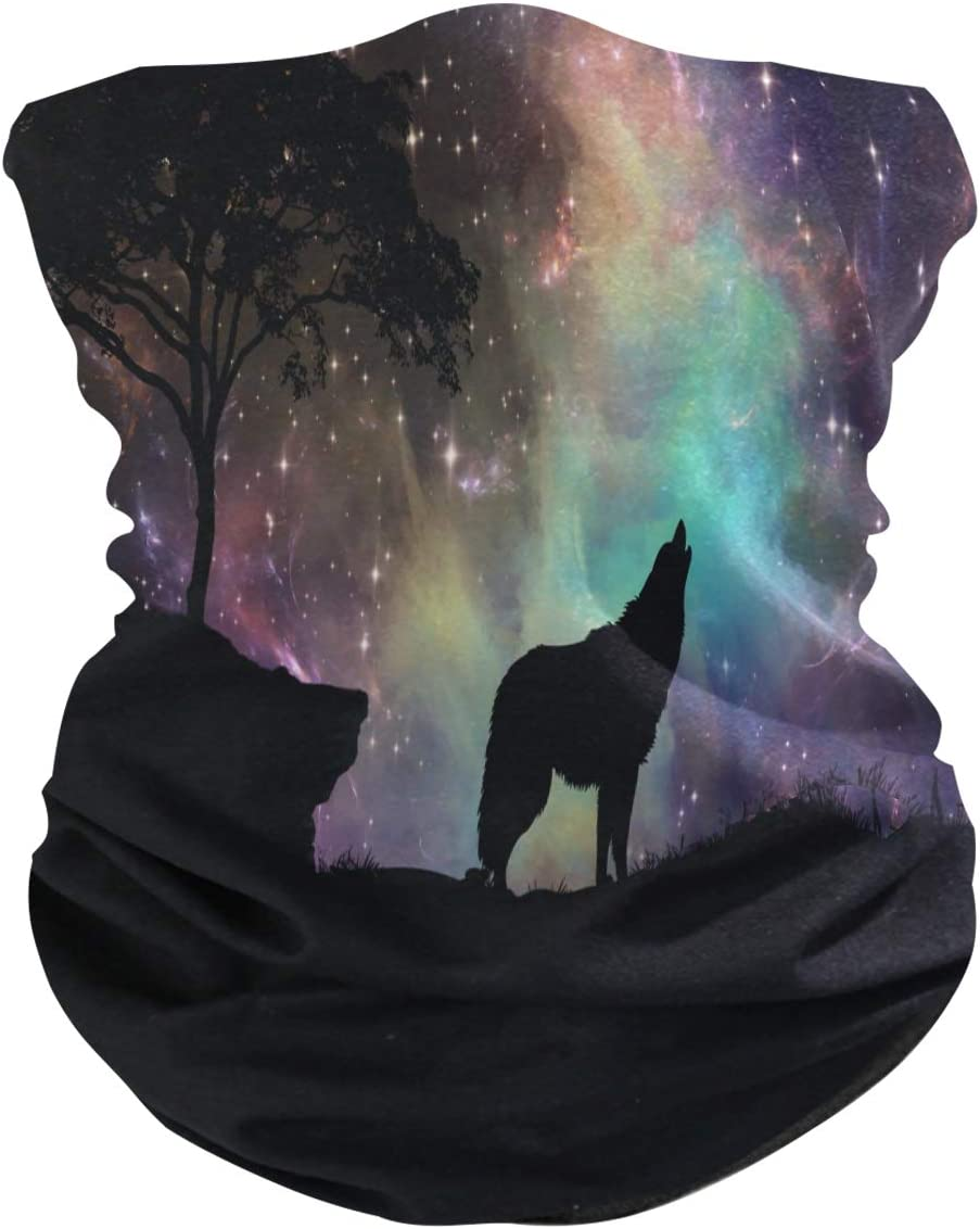 Blueangle Galaxy Wolf Protection Face Mask Neck Gaiter Summer Su