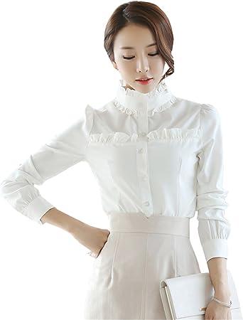 COCO clothing Camisa Mujer Manga Larga Blanco Camisas ...