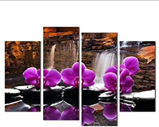 Posters Prints Hand Painted Butterfly Orchid Oil Painting Flowers Modern Abstract 4 Panel Canvas Art Wall Decor Picture Fo...
