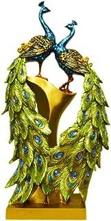 PANRODO Peacock Couple Sculptures Statue Lifelike Vintage Crafts Resin Figurines