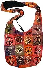 PR-125 Soft Cotton Vibrant Patchwork Peace Symbol Shoulder Bohemian Bag