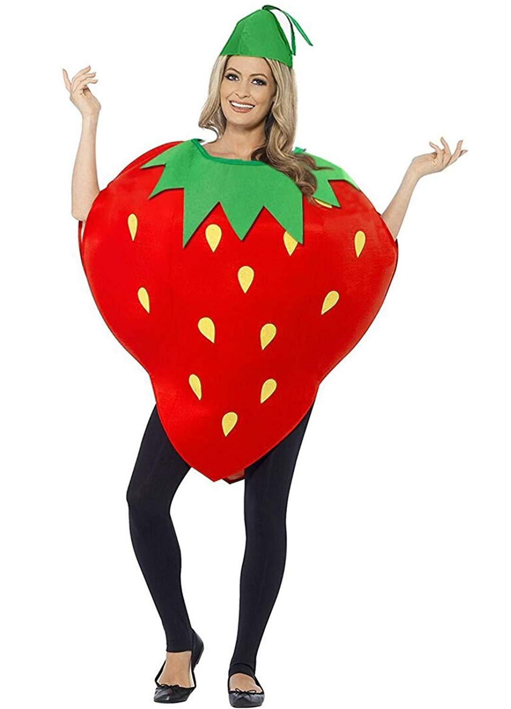 Multifit Unisex Kids Pumpkin Strawberry Costume Dress Set Fruit Costume Suit for Party Halloween Dress Up