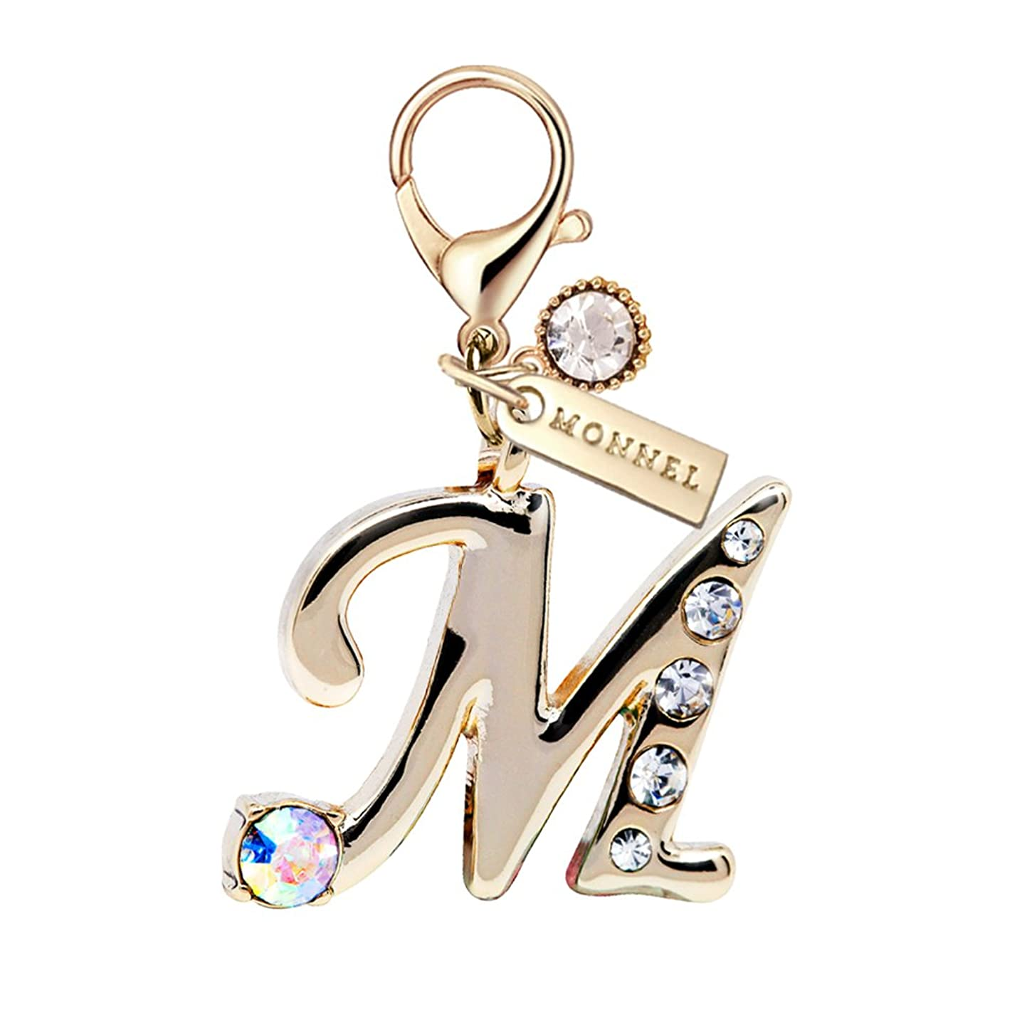 MC75 New Stylish Initial Letter M Crystal Alphabet Lobster Charm Pendant with Pouch Bag (1 Piece)