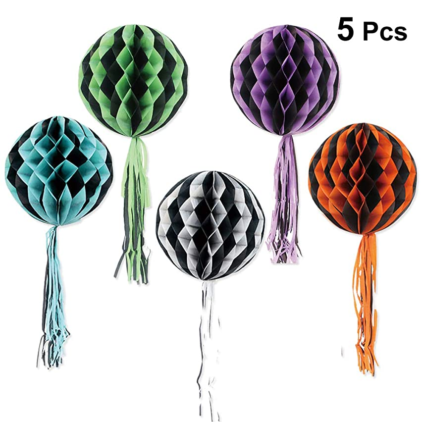 リボン無効にするセッションBESTOYARD ハロウィン ハニカムボール タッセル ペーパーの提灯 ティッシュ ペーパーハニカムボール ハロウィンパーティーの装飾 5本