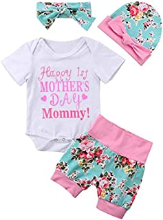 Baby Girl Happy 1st Mother's Day Outfit Short Sleeve Romper+Floral Shorts +Headband+Hat Summer Clothes