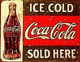 EffortLife Tin Metal Sign:Coke - C. 1916 Ice Cold Retro Vintage Bar Signs Tin Sign Vintage 12 X 8 Inch