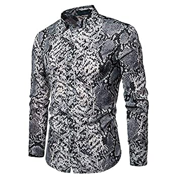 YFFUSHI Mens Casual Long Sleeve Shirt Serpentine Leopard Python Pirnt Button-Down Dress Closure