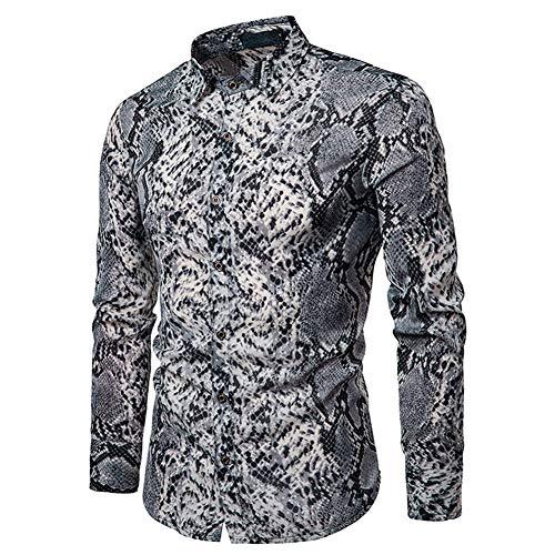 Mens Long Sleeve Tops Leopard Python Pirnt Casual Button Down Dress Shirt