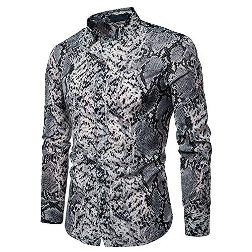 Mens Long Sleeve Tops Leopard Python Pirnt Casual Button Down Dress Shirt