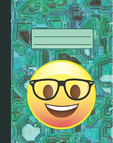 "Emoji Nerd Geo Pattern Tech Circuit Board Graph Paper Notebook: 160 Page Softcover Journal, 4 Squares per Inch Graph Paper, 8""x10"" Blank Book, Workbook for Math & Science, Students, and Teachers"