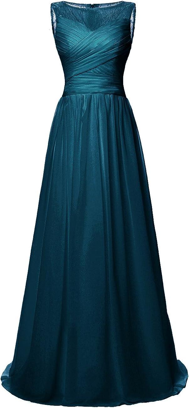 JAEDEN Lace Long Prom Dress Chiffon Bridesmaid Dress for Party Sleeveless Pleat