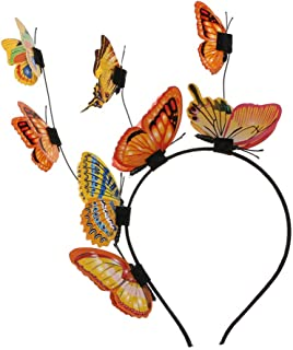 Minkissy Butterfly Fascinator Hat Headpieces Festival Novelty Crown Head Hoop Wedding Engagement Costume Bohemian Wedding Headwear Hair Accessories (Orange)
