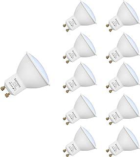Bombillas LED, GU10 7w Equivalente 60W Halógena, 3000K Blanco Cálido, 600Lm, 120 Degree ángulo AC 220-240V, Pack de 10