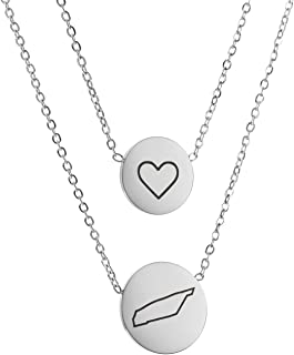 HUAN XUN State Heart Disc Pendant Necklace - Double Chain Stainless Steel