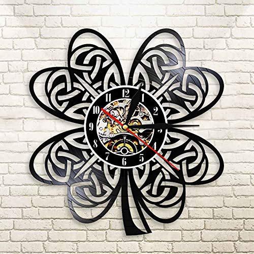 BFMBCHDJ Charms Lucky Irish Four Leaf Clover Modern Wall Clock Fortune Shamrock LED Wall Lamp For Favors Festive St Patrick Day Gifts No LED 12 Inches