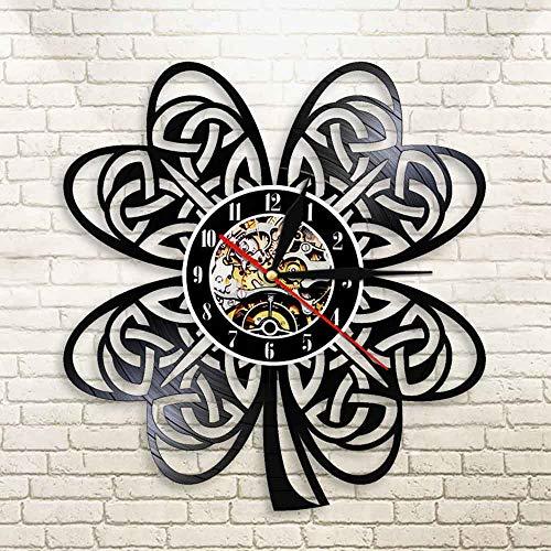 Charms Lucky Irish Four Leaf Clover Reloj de Pared Moderno Fortune Shamrock Lámpara de Pared LED para favores Regalos Festivos del Día de San Patricio