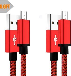 كابل شاحن USB صغير بطول 6 أقدام بسلك شحن سريع أندرويد 2 حزمة متوافقة مع سامسونج جالاكسي S5 S6 S7 Edge J8 J7 J6 J6+، J5 J3 ...