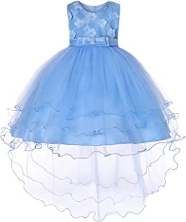 Girls Flower Embroidery Ruffles Party Wedding Dresses Kids Ball Gown