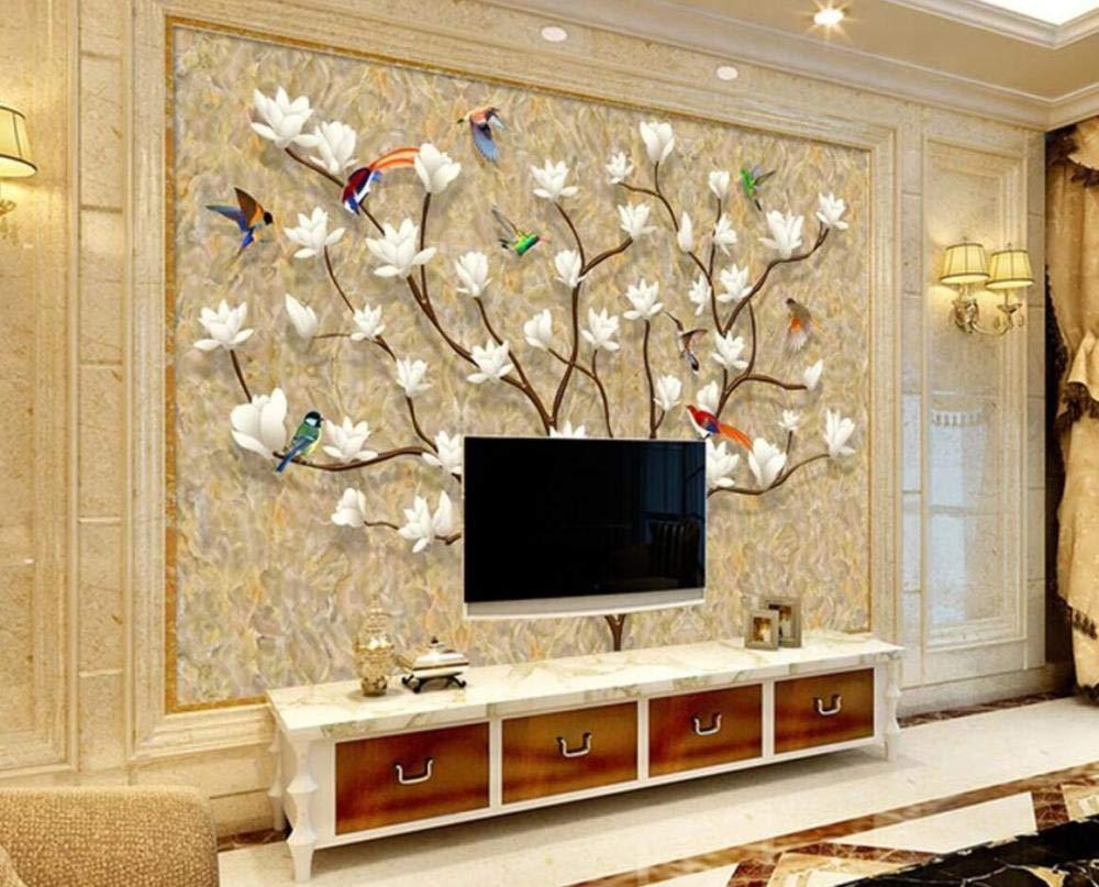 Papel Pintado Pared 3D Magnolia Blanca Árbol Pájaro Piedra Textura Fotomurales Mural Papel Pintado Sala De Estar Dormitorio Tv Fondo Decoración De Pared 140cm×100cm: Amazon.es: Bricolaje y herramientas