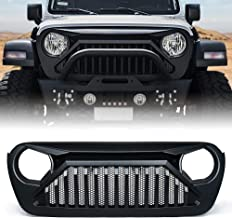 Xprite Front Matte Black Grill with Mesh Grille Cover for 2018-2019 Jeep Wrangler JL - Gladiator Series