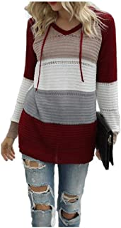 Coolred Womens Fall Winter Tshirt Long-Sleeve Hooded Knitted Tunic Top