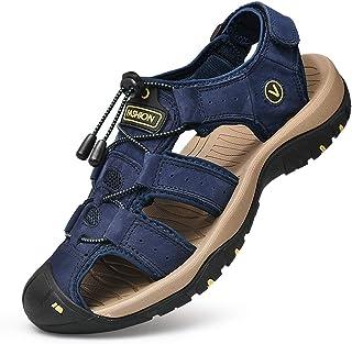 Unitysow Nu Pied Homme Sandale Bout Fermé Cuir Sandales de Plage Été Extérieur Sports Trekking Chaussure de randonnée Pêch...