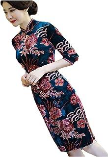 neveraway Women Classy Velvet Mandarin Collar Chinese Qipao Dress Robe