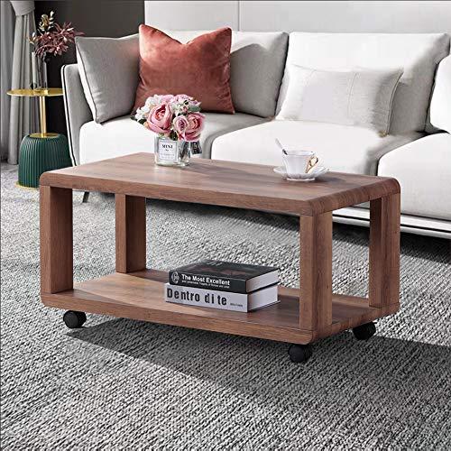 GOLDFAN Rechteckiger Couchtisch aus Holz Moderner Wohnzimmertisch mit Rädern für Wohnzimmer Büro Lounge, Braun