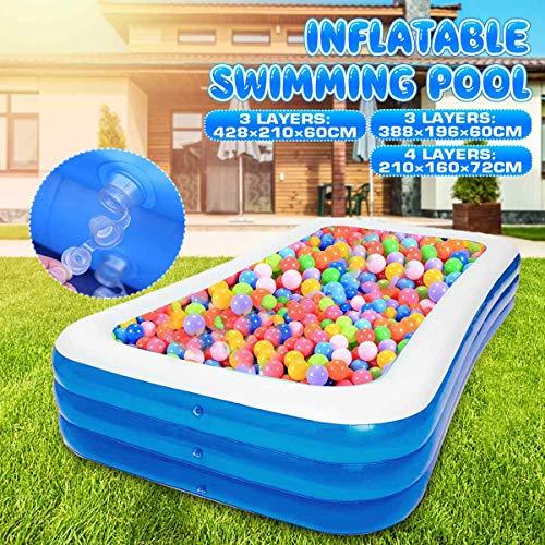 XYBB Pool 3 Schicht Große Rechtecke PVC Kinder Badewanne Sommer Familie Paddelbecken Aufblasbare Schwimmbad Verdickten Pool 428x210x60cm blau3