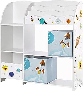 SONGMICS Organizador de Juguetes y Libros para Niños Estantería de Almacenamiento Multifuncional con 2 Cajas Gran Capaci...