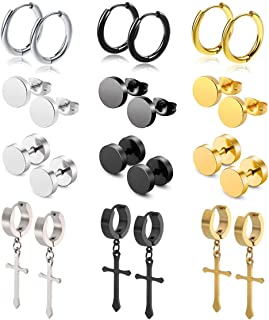 WAINIS 12Pairs Stud Earrings Cross Dangle Hinged Hoop Earrings Set for Men Women Stainless Steel Earring 18G
