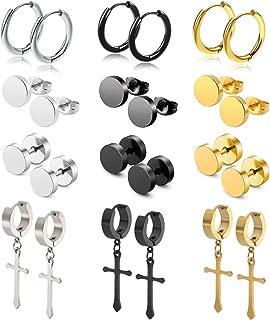12Pairs Stud Earrings Cross Dangle Hinged Hoop Earrings Set for Men Women Stainless Steel Earring 18G