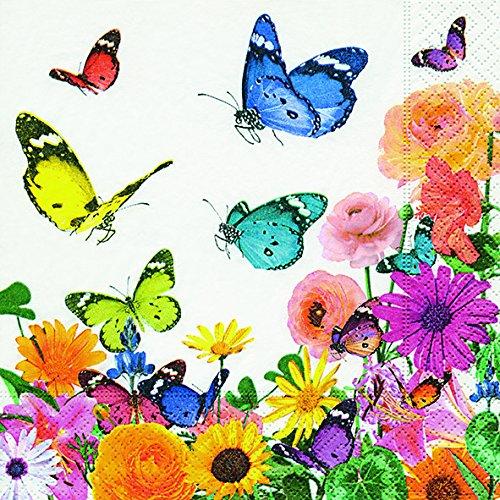 20 Servietten Schmetterlinge an Blumenwiese/Blumen/Frühling 33x33cm